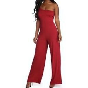Red Jumpsuit One Shoulder Strap Size Small Party